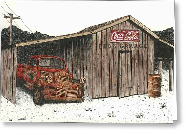 Barn Pen And Ink Greeting Cards - Buds Garage Greeting Card by Mike OBrien