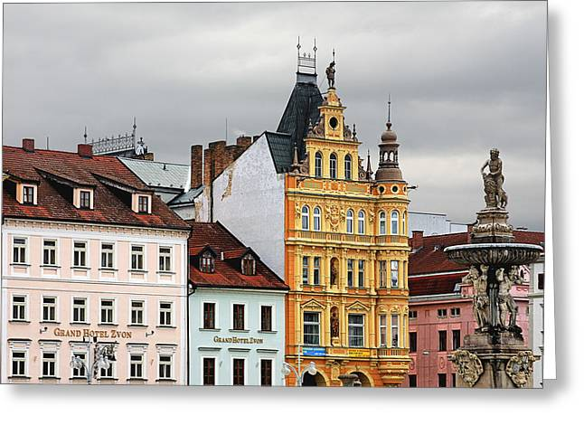 Townhouses Greeting Cards - Budweis - Pearl of Bohemia - Czech Republic Greeting Card by Christine Till