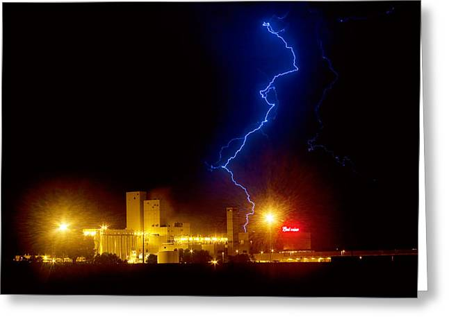 The Lightning Man Greeting Cards - Budweiser Lightning Strike Greeting Card by James BO  Insogna