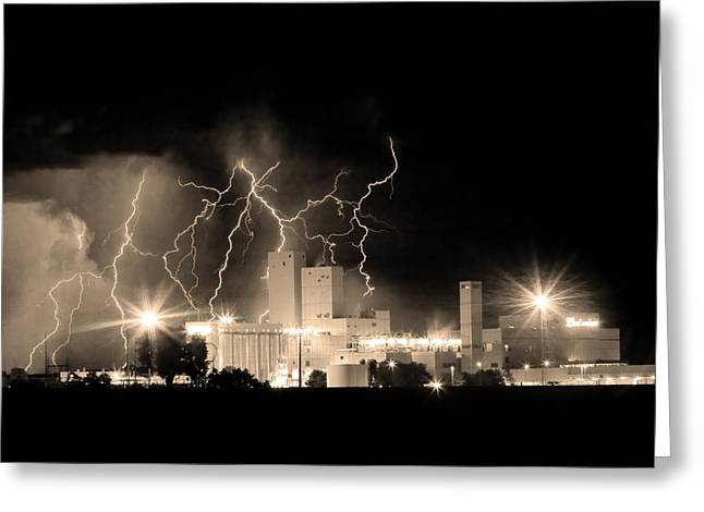The Lightning Man Greeting Cards - Budweiser Lightning Thunderstorm Moving Out BW Sepia Crop Greeting Card by James BO  Insogna