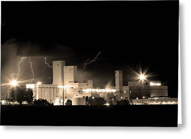 The Lightning Man Greeting Cards - Budwesier Brewery Lightning Thunderstorm Image 3918  BW Sepia Im Greeting Card by James BO  Insogna