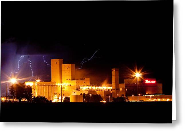 The Lightning Man Greeting Cards - Budwesier Brewery Lightning Thunderstorm Image 3918 Greeting Card by James BO  Insogna