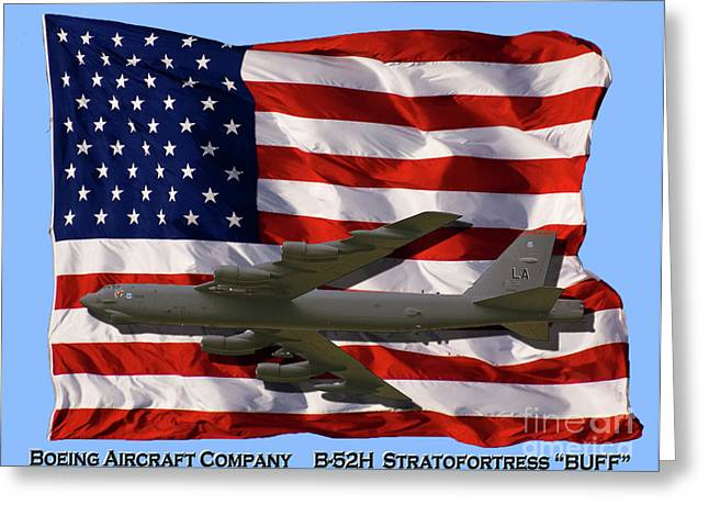 Us Air Force Greeting Cards - BUFF and Flag Greeting Card by Tim Mulina