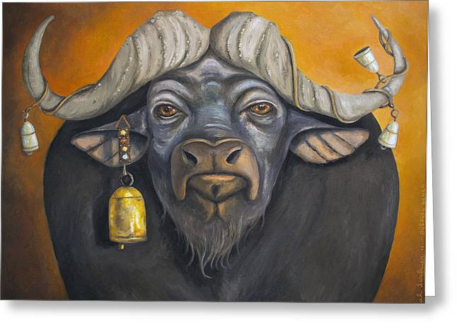 Steer Greeting Cards - Buffalo Bells Greeting Card by Leah Saulnier The Painting Maniac