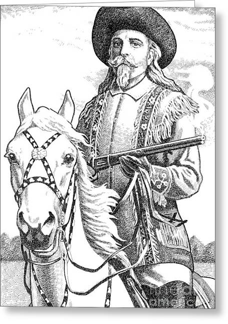 Pen And Ink Drawings For Sale Drawings Greeting Cards - Buffalo-Bill-Cody Greeting Card by Gordon Punt