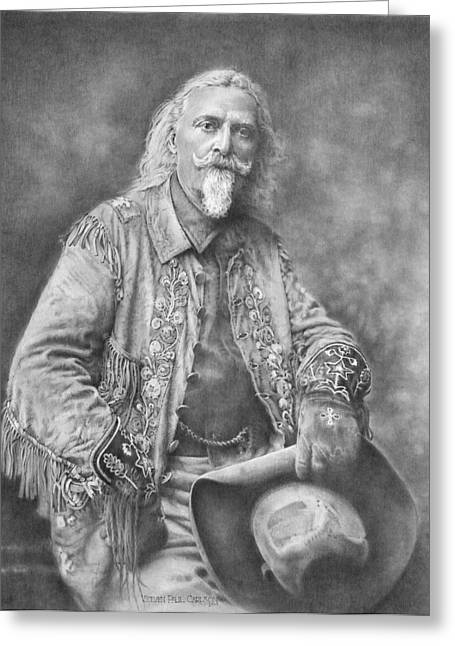 Frederick Drawings Greeting Cards - Buffalo Bill Greeting Card by Steven Paul Carlson
