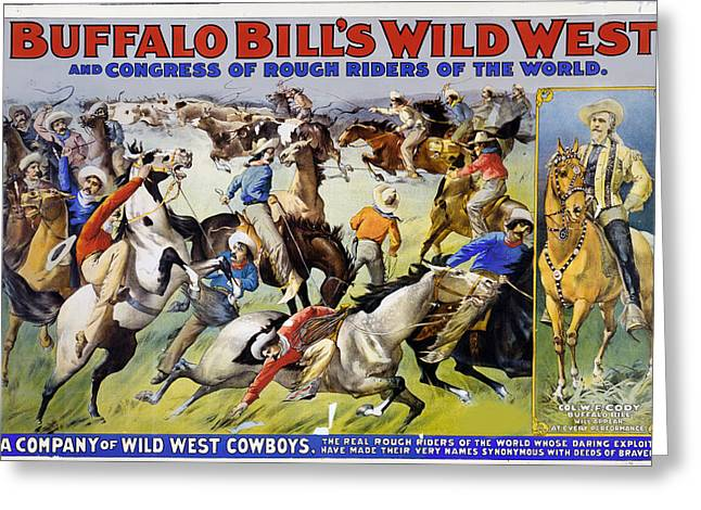 Bravery Mixed Media Greeting Cards - Buffalo Bills Wild West Greeting Card by Charles Shoup