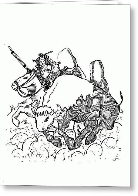 Buffalo Chaser Greeting Card by Kenny Moran