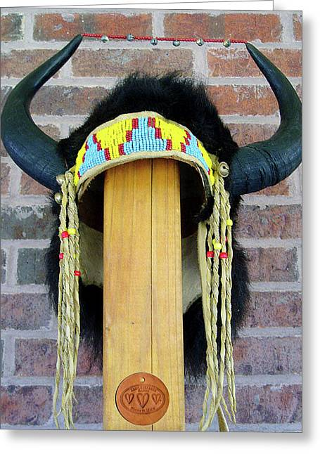 Southwest Sculptures Greeting Cards - Buffalo Horn Headress Greeting Card by Roger D Hale