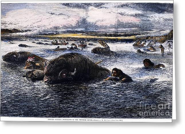 1874 Greeting Cards - Buffalo Hunt, 1874 Greeting Card by Granger