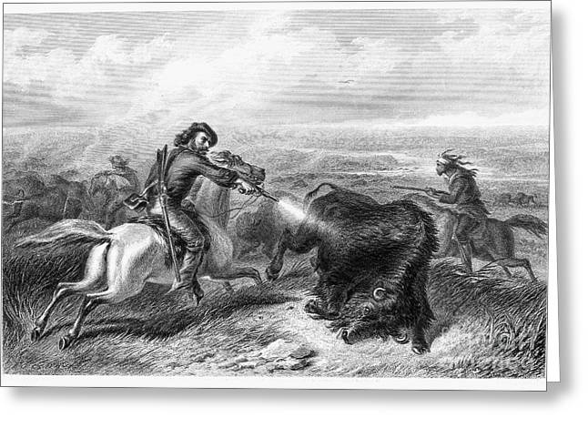 Destiny Greeting Cards - Buffalo Hunting, 1870 Greeting Card by Granger