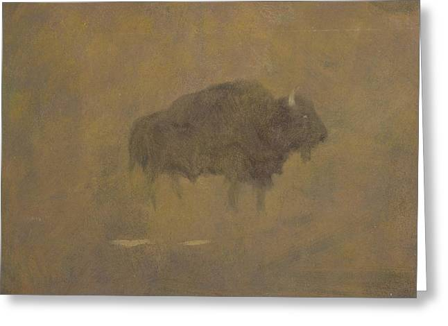 Buffalo Greeting Cards - Buffalo in a Sandstorm Greeting Card by Albert Bierstadt