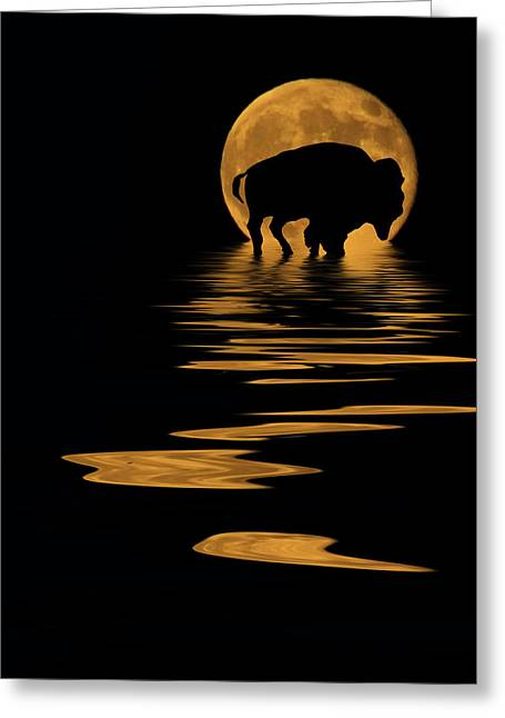 Full Moon Mixed Media Greeting Cards - Buffalo In The Moonlight Greeting Card by Shane Bechler