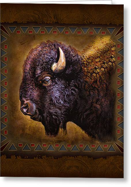 Tribal Greeting Cards - Buffalo Lodge Greeting Card by JQ Licensing