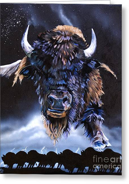 Buffalo Mixed Media Greeting Cards - Buffalo Medicine Greeting Card by J W Baker