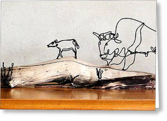 Prairies Sculptures Greeting Cards - Buffalo Mothers Greeting Card by Bud Bullivant