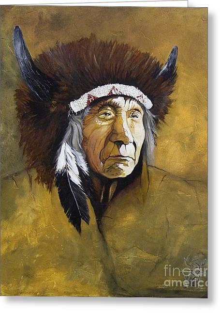 Shaman Greeting Cards - Buffalo Shaman Greeting Card by J W Baker