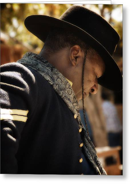 Calvary Greeting Cards - Buffalo Soldier Greeting Card by Toni Hopper