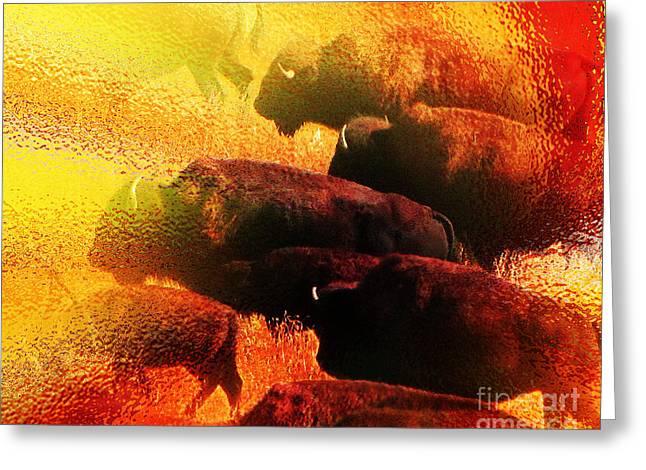 Abstract Impressionism Digital Art Greeting Cards - Buffalo Sun Greeting Card by Terril Heilman