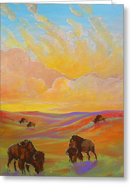 Jenn Cunningham Greeting Cards - Buffalo Sunrise Greeting Card by Jenn Cunningham