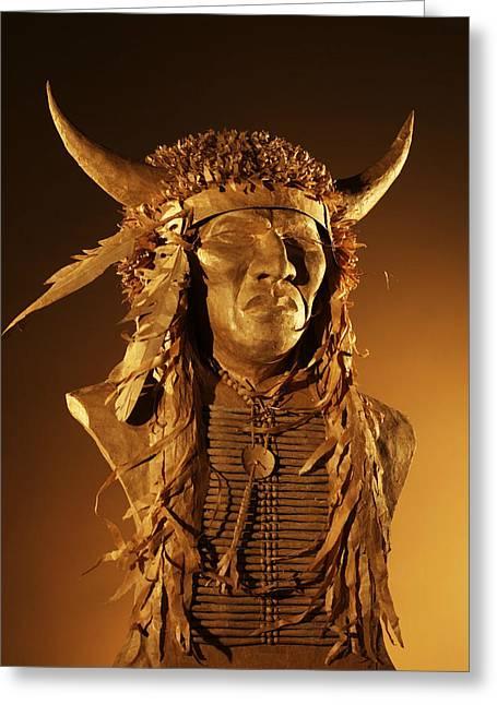 Head Sculptures Greeting Cards - Buffalo Warrior Greeting Card by Monte Burzynski