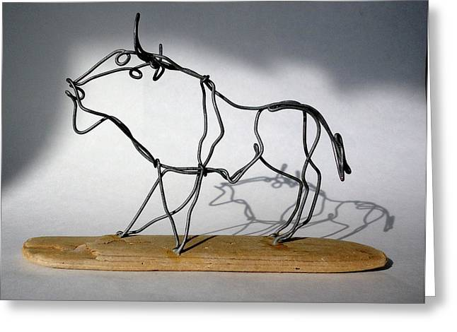 Farm Sculptures Greeting Cards - Buffalo Wire Sculpture Greeting Card by Bud Bullivant