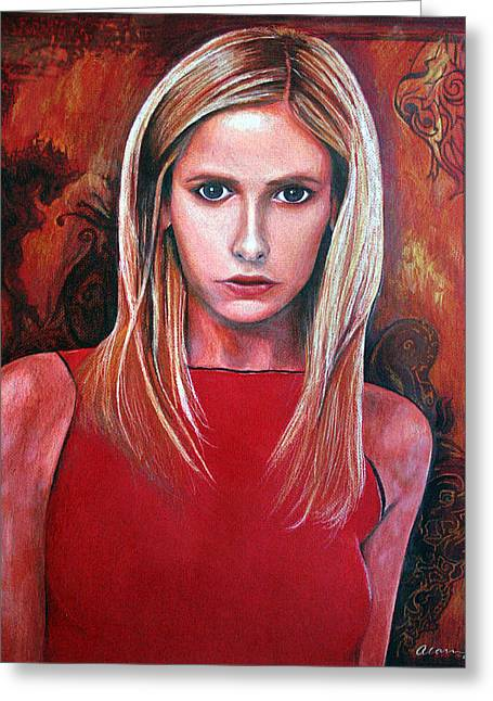 Michelle Pastels Greeting Cards - Buffy Greeting Card by Alan Schwartz