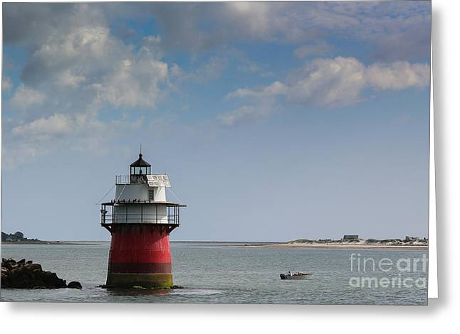 Plymouth Harbor Greeting Cards - Bug Light in Plymouth MA Greeting Card by Lori Whalen