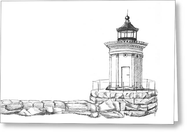 New England Lighthouse Drawings Greeting Cards - Bug Light Sketch Greeting Card by Dominic White