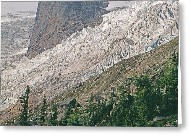 Hounds Tooth Greeting Cards - Bugaboo Glacier Flows Around The Hounds Greeting Card by Gordon Wiltsie