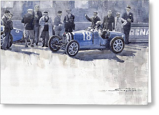 Monaco Greeting Cards - Bugatti 35C Monaco GP 1930 Louis Chiron  Greeting Card by Yuriy  Shevchuk