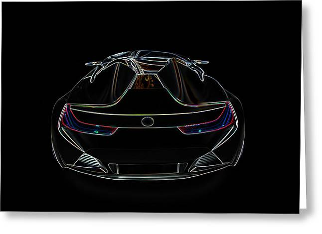 Delux Greeting Cards - Bugatti luxury sport car illustration Greeting Card by Radoslav Nedelchev
