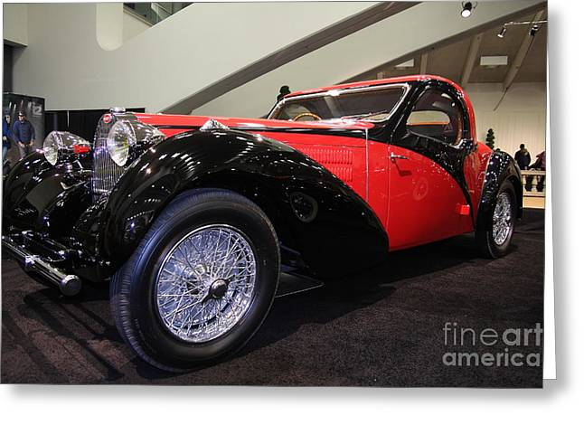 Import Car Greeting Cards - Bugatti Red Greeting Card by Wingsdomain Art and Photography