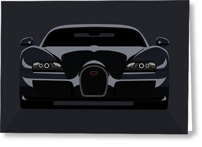 Vehicle Greeting Cards - Bugatti Veyron Dark Greeting Card by Michael Tompsett