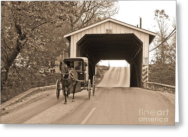 Horse And Buggy Greeting Cards - Buggy and Covered Bridge Greeting Card by Tim Mulina