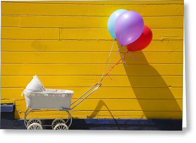 Wooden Wheels Greeting Cards - Buggy and yellow wall Greeting Card by Garry Gay