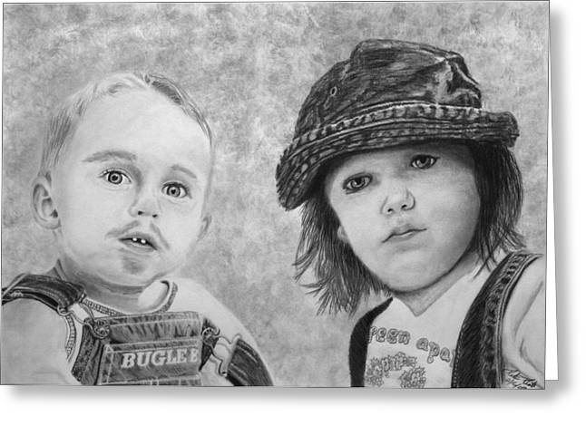 Charcoal Greeting Cards - Bugle Boy and Sweet Apple  Greeting Card by Peter Piatt