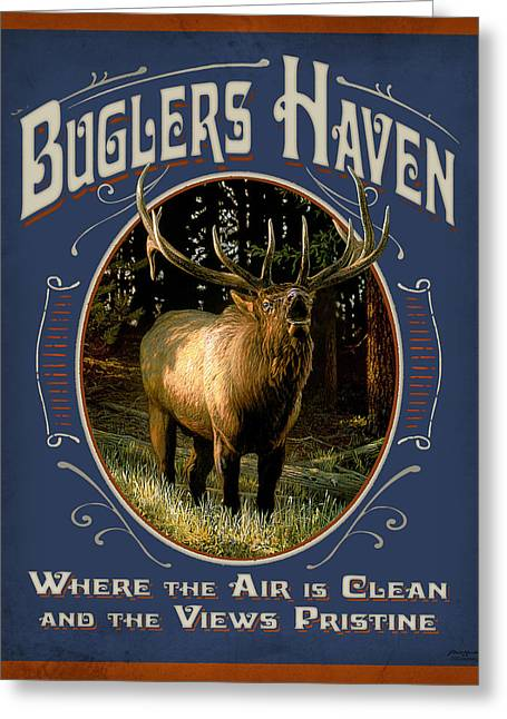 Yellowstone Greeting Cards - Buglers Haven Sign Greeting Card by JQ Licensing