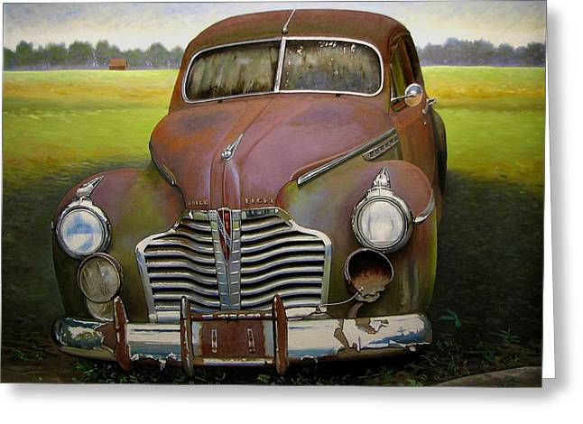 Old Barns Greeting Cards - Buick Eight Greeting Card by Doug Strickland