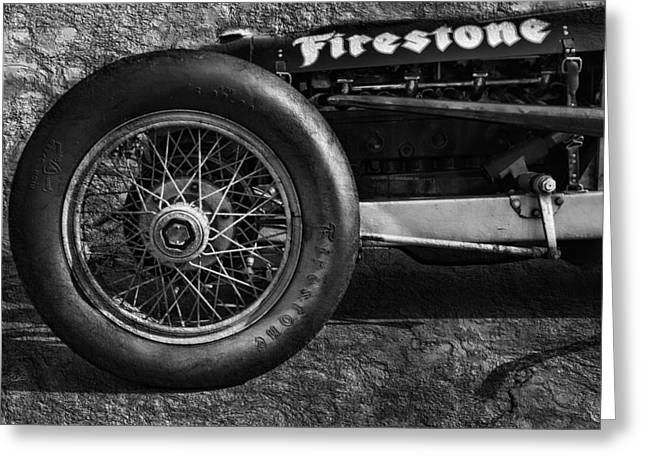 Wire Wheels Greeting Cards - Buick Shafer 8 BW Greeting Card by Peter Chilelli