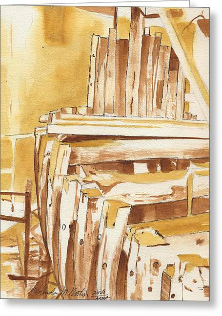 Wooden Ship Drawings Greeting Cards - Building Adventure Greeting Card by Norton Linda