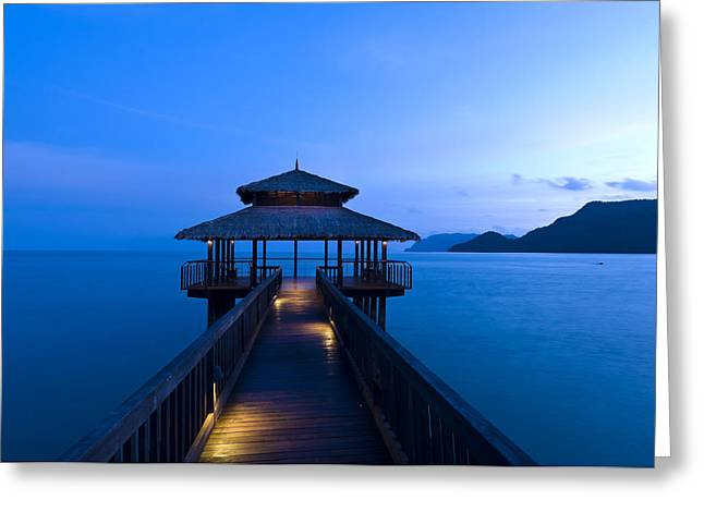 Beautiful Landing Greeting Cards - Building at the end of a jetty during twilight Greeting Card by Ulrich Schade