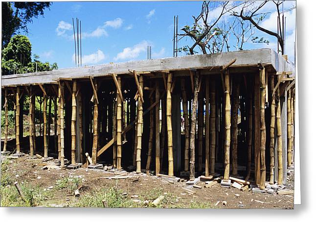 Bamboo House Photographs Greeting Cards - Building Construction Greeting Card by David Nunuk