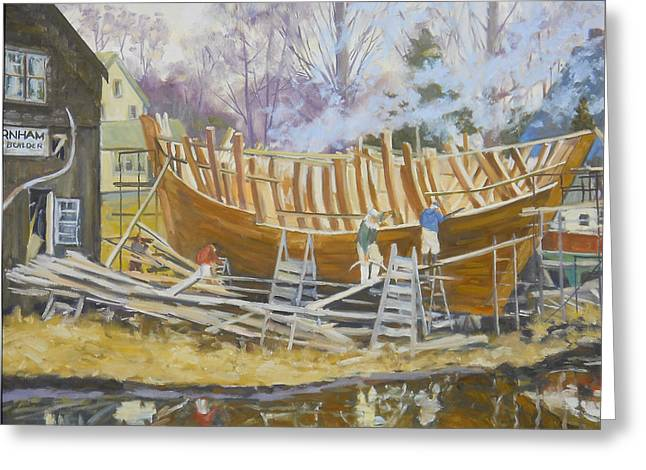 Schooner Paintings Greeting Cards - Building of The Pinky Ardelle Greeting Card by Chris Coyne