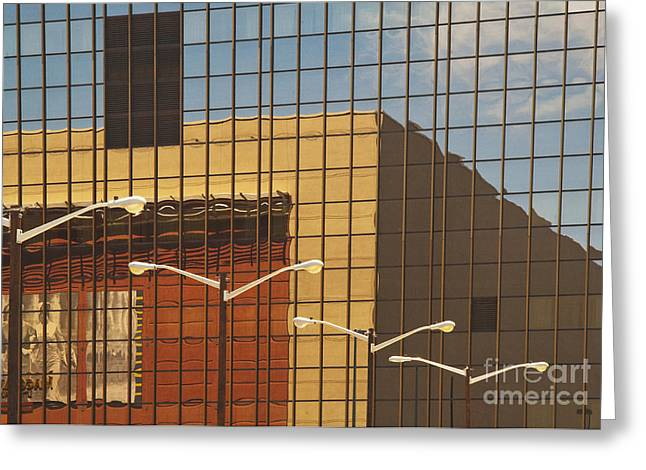 Office Space Photographs Greeting Cards - Building Reflected in Glass Building Windows Greeting Card by Thom Gourley/Flatbread Images, LLC