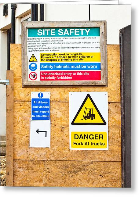 Workplace Photographs Greeting Cards - Building site signs Greeting Card by Tom Gowanlock