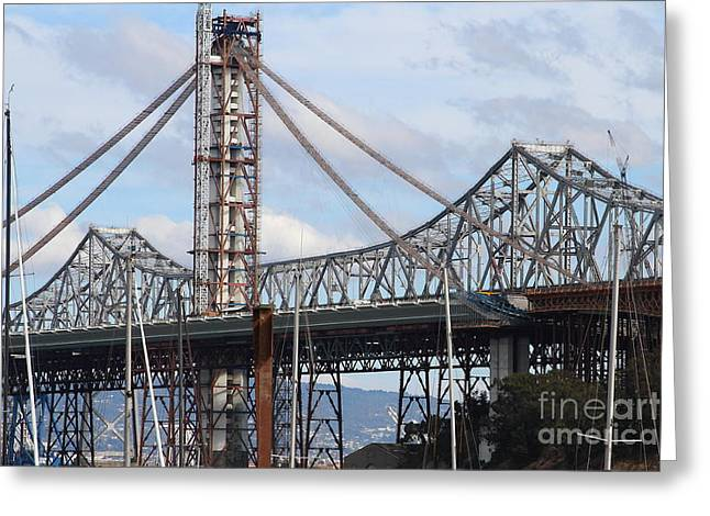 San Francisco Oakland Bay Bridge Greeting Cards - Building The New San Francisco Oakland Bay Bridge . 7D7774 Greeting Card by Wingsdomain Art and Photography