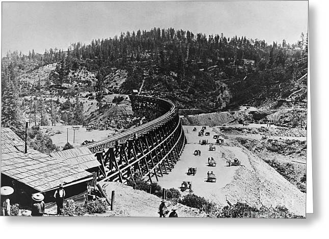 Californian Greeting Cards - Building The Transcontinental Railroad Greeting Card by Omikron
