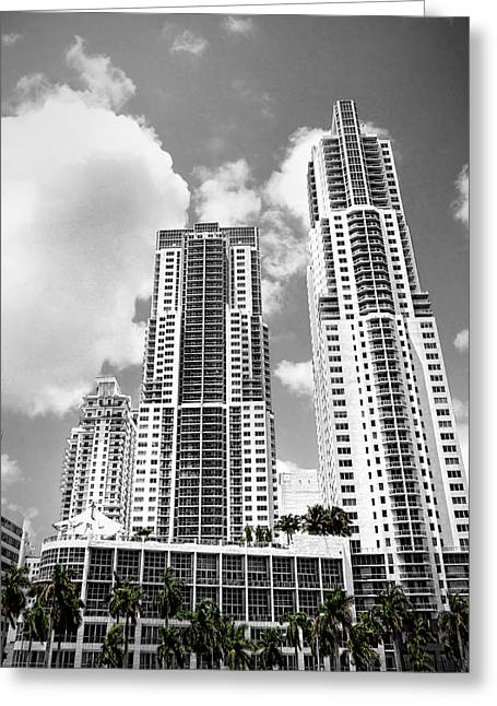 Aspect Greeting Cards - Buildings Downtown Miami Greeting Card by Rudy Umans