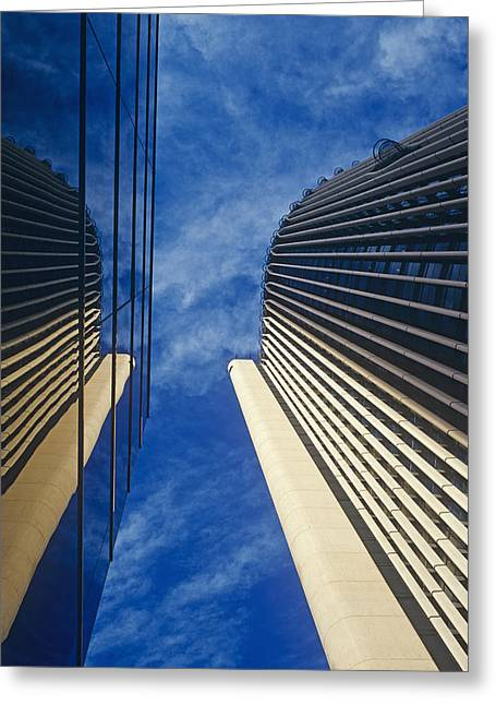 Reflecting Buildings Greeting Cards - Buildings Reflection Greeting Card by Carlos Dominguez
